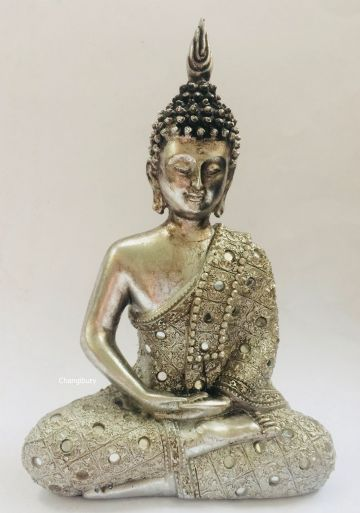 21cm Thai Buddha in SILVER Robe Statue of Meditation